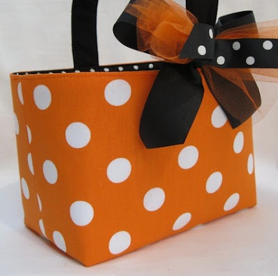 Halloween trick or treat fabric bucket, polka dot
