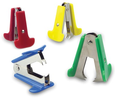 staple removers, claw style, in blue, green, yellow, red