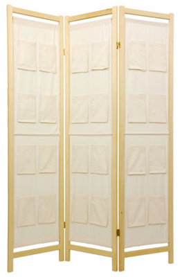 tall shoji screen room divider with pockets