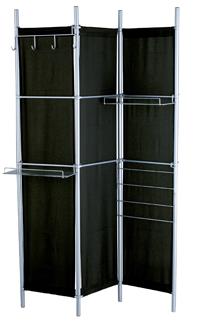 folding screen with shelves, hooks, magazine rack