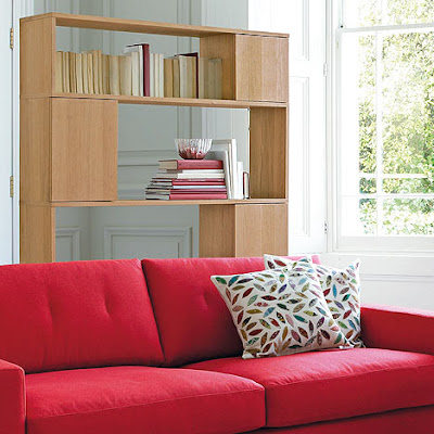wood shelving serving as room divider