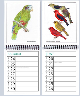 2011 weekly appointment calendar with pictures of birds