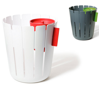 wastebasket with separate container for wet materials