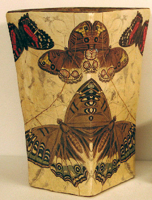 papier mache wastebasket with butterflies