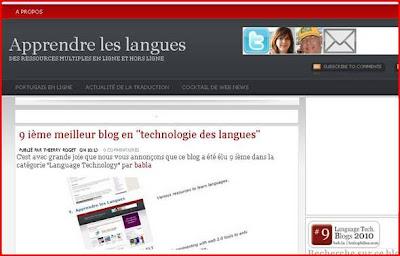 "capture d'écran  ""apprendre les langues"""