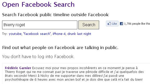 recherche sur facebook