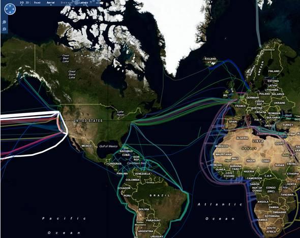 carte des cables sous-marin