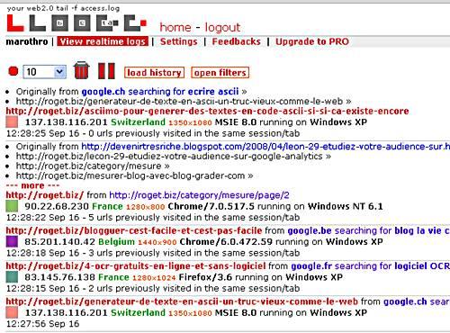 capture d'écran des statistiques en temps réel d'un blog