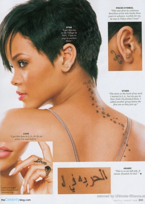 Tattoos on Rihanna the singer including stars on neck, finger tattoos and.