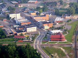 Aerial of Hamlet in the haze of the early morning dew, July 9, 2009