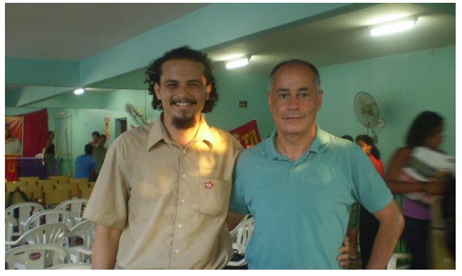 FOTO NO SINDICATO DOS TRABALHADORES DA CONSTRUÇÃO CIVIL. PROFº. HISTÓRIA BRUNO E ZÉ MARIA/ PSTU.