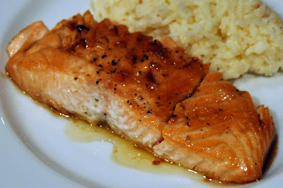 A LA GRAHAM: WASABI AND HONEY GLAZED SALMON WITH COCONUT RICE