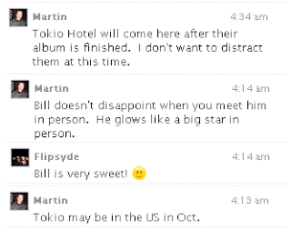 NEWS; Tokio Hotel news from Martin (=