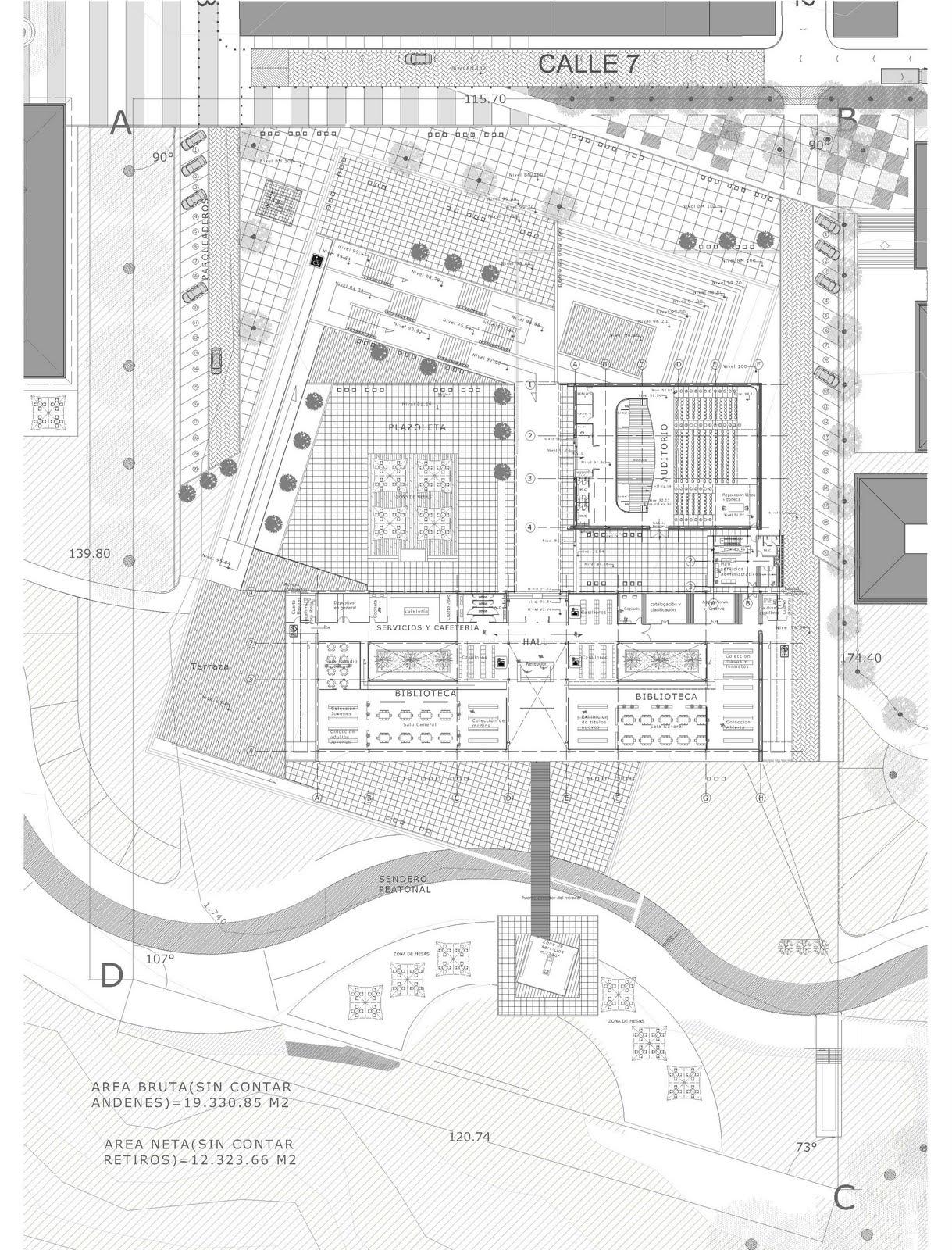 Cavica proyectos de arquitectura biblioteca p blica en for Planta arquitectonica biblioteca