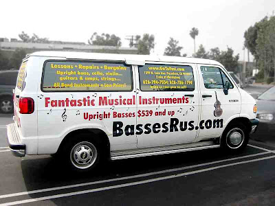 the Basses R Us truck in a Trader Joes parking lot