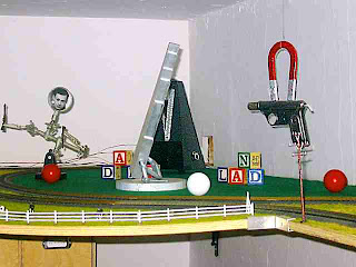 detail of the train set of Art which is up near the ceiling