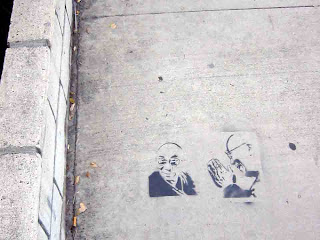 Someone spray painted this on the sidewalk (c) David Ocker