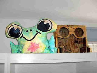 Stuffed Frog and Plywood Cupholder (c) David Ocker