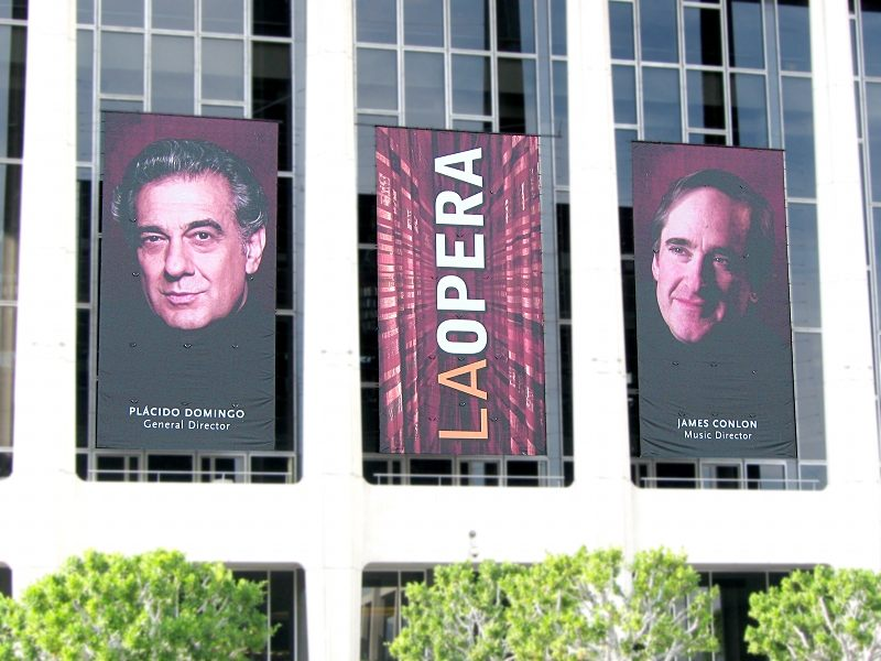 Placido Domingo and James Conlon posters on Dorothy Chandler Pavilion home of LA Opera