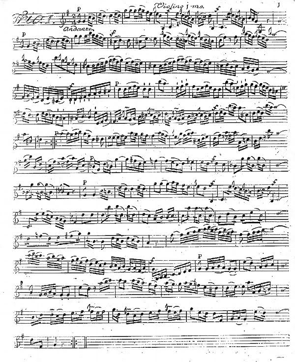 copy of manuscript of Violin I part from a string trio by Francesco Zappa