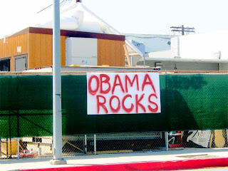 Homemade OBAMA ROCKS sign in Pasadena