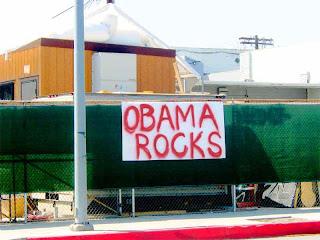 Homemade OBAMA ROCKS sign in Pasadena