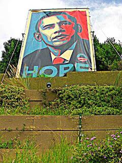 Huge Barak Obama yard sign