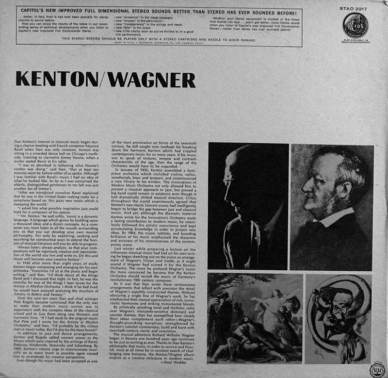 Stan Kenton plays music of Richard Wagner - inside panel