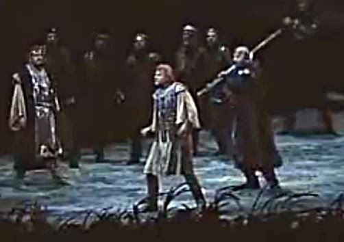 Siegfried is stabbed in the back by Hagen in Act 3 of Gotterdammerung by Richard Wagner