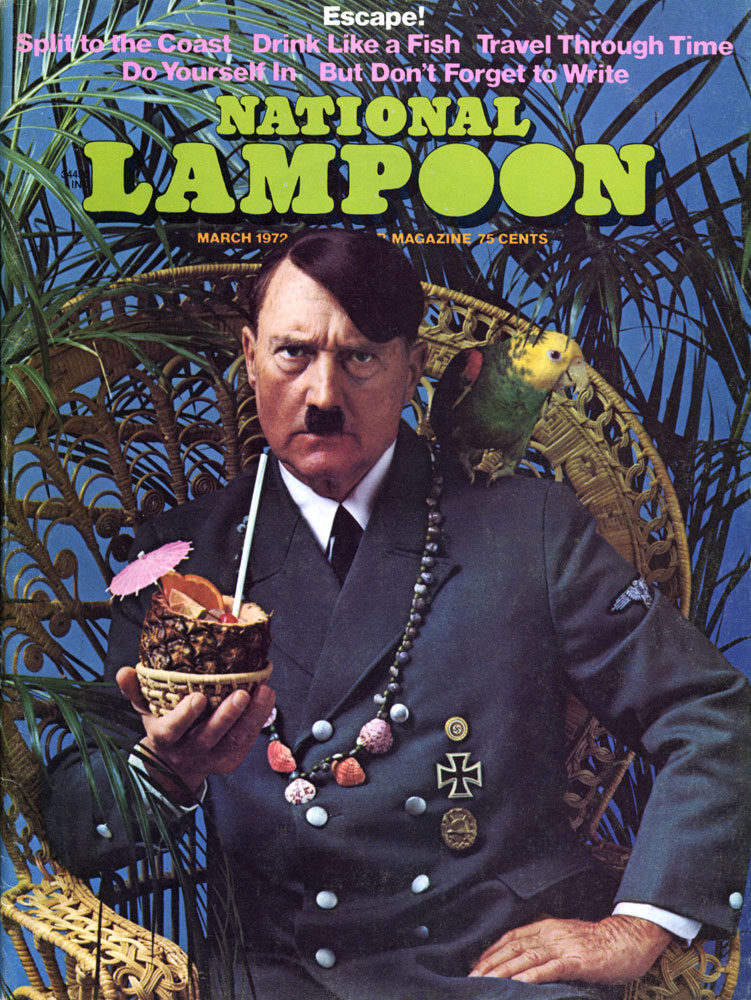 Hitler relaxing with a tropical drink on a 1972 National Lampoon cover
