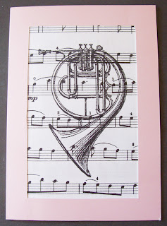 vintage art card image two cheeky monkeys music french horn