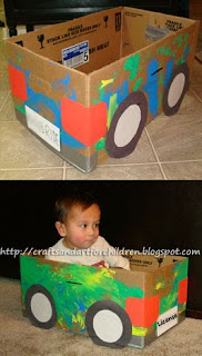 How to make a Cardboard Box Car {Recycled Craft}