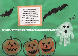fun kids halloween craft, handprint pumpkins, handprint ghost, thumbprint bat