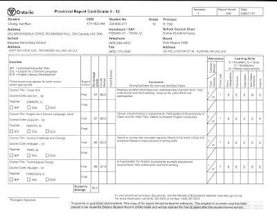 fake report card template
