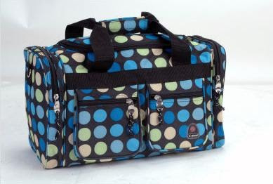 Picture taken from CSN site - duffle bag has 2 front pockets, 2 side pockets and has blue, orange, green dots through out it. Too cute!