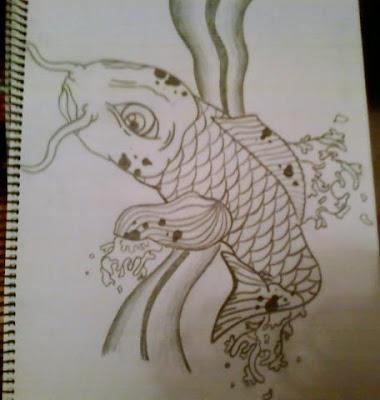 koi fish drawing. style koi fish drawing.