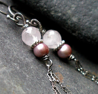 Pink Rose Quartz, fresh water pearl and sterling silver handmade earrings