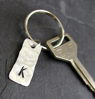 personalized hand hammered aluminum key chain