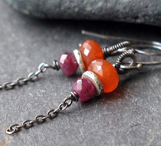 Handmade earrings featuring orange Carnelian, fuscia pink ruby gemstones and oxidized sterling silver