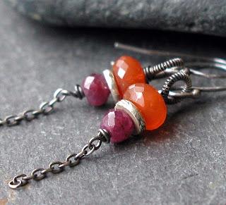 Handmade earrings featuring orange Carnelian, fuscia pink ruby gemstones and oxidized sterling silver