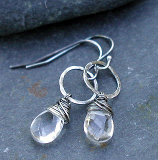 Handmade earrings with Rock Crystal gemstones and hand hammered sterling silver