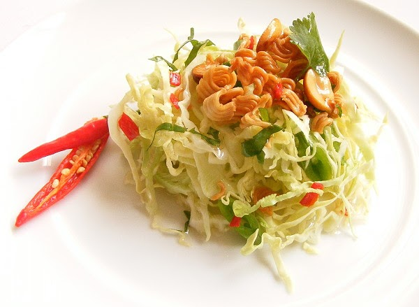 Shredded Cabbage Salad with Chilli-Lime Dressing, Crunchy Noodles and ...