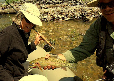 Debby Collin with her trout - also on the West Fork of the Bitterroot