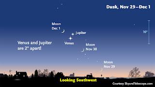 Cresent Moon, Jupiter and Venus align tonight – a Montana view