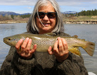 Merle and her trout on the Bitterroot River