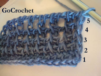 Crocheting In Rows : ... rows of my tunisian patina scarf how do i know that it is 5 rows