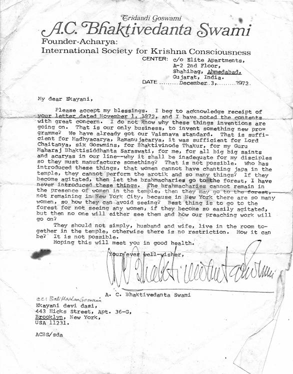 Famous Prabhupada Letter of 1972
