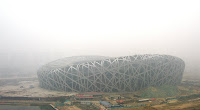 beijing birdsnest stadium in smog