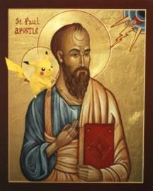 Observe cómo Jesús carga las baterías de San Pikachu desde una esquinita del firmamento...