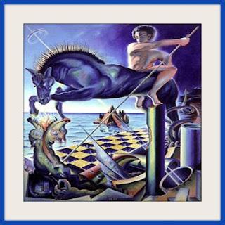 Personaje matando a un dragón 1977- Guillermo Pérez Villalta